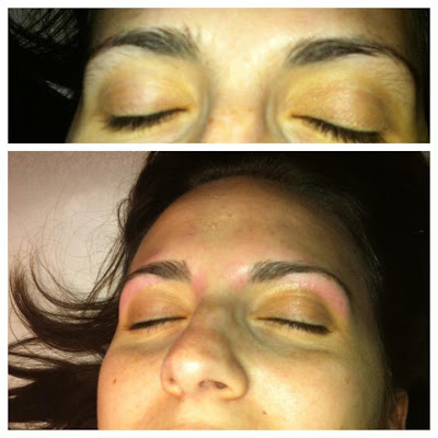 Before and after brow wax