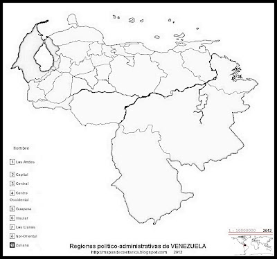 Mapa de las Regiones politico-administrativas de VENEZUELA, blanco y negro