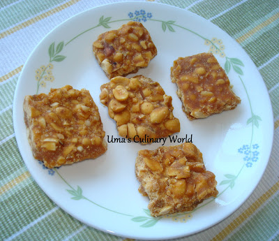 shenga chikki or peanut brittle