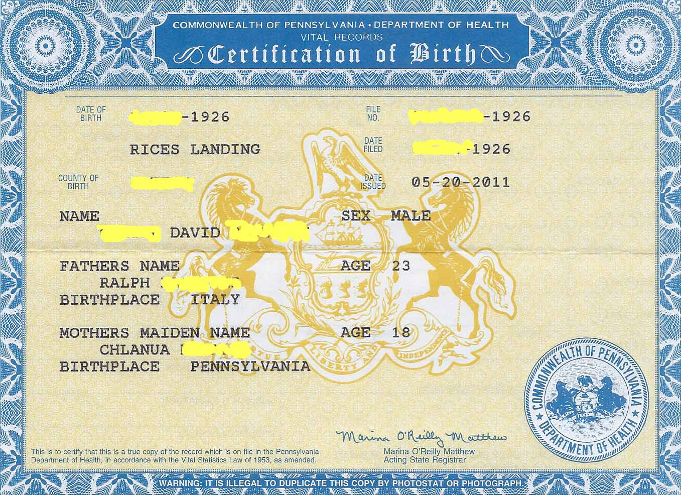 A3genealogy using birth certificates for research using birth certificates for research aiddatafo Images