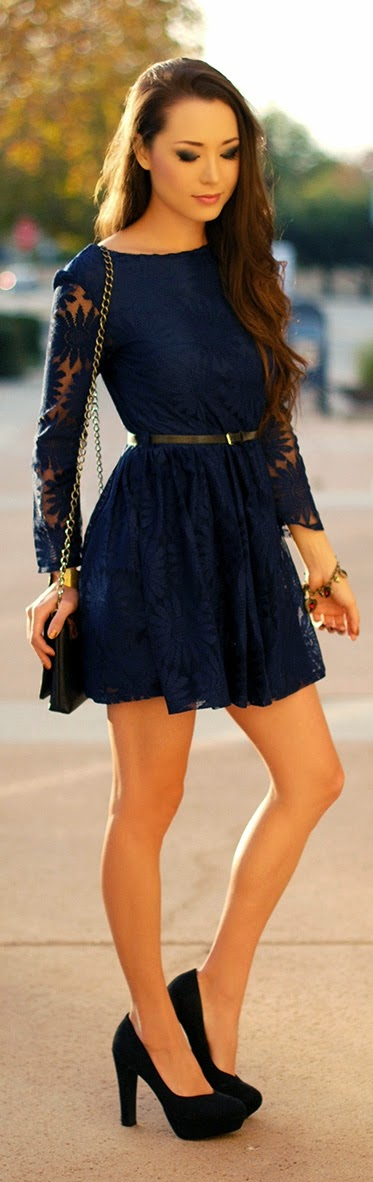Dark Blue Zipper V-Back Lace Dress with Black Pumps | Summer Outfits