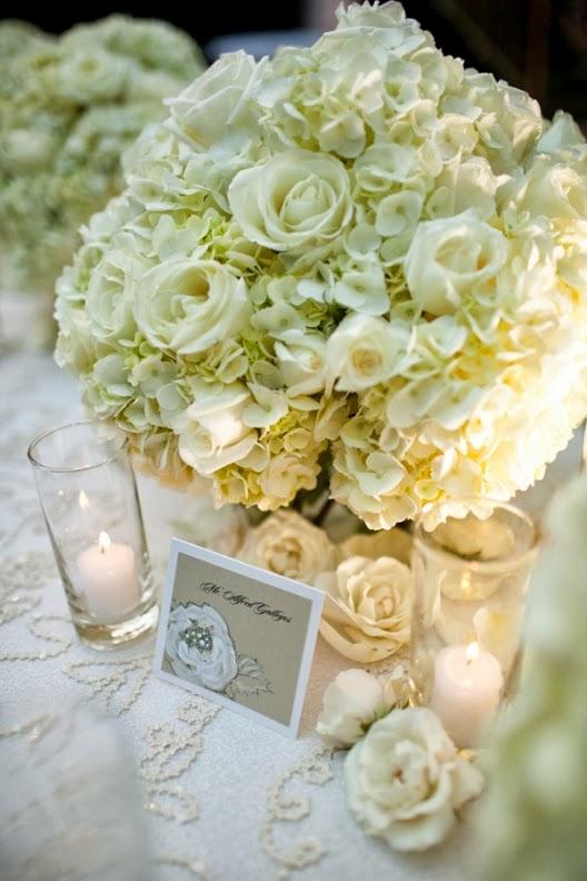 hortensias blancas y rosas
