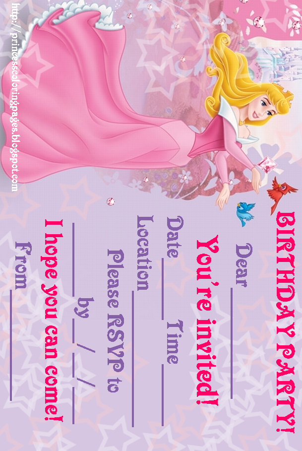 PRINCESS COLORING PAGES – Sleeping Beauty Party Invitations