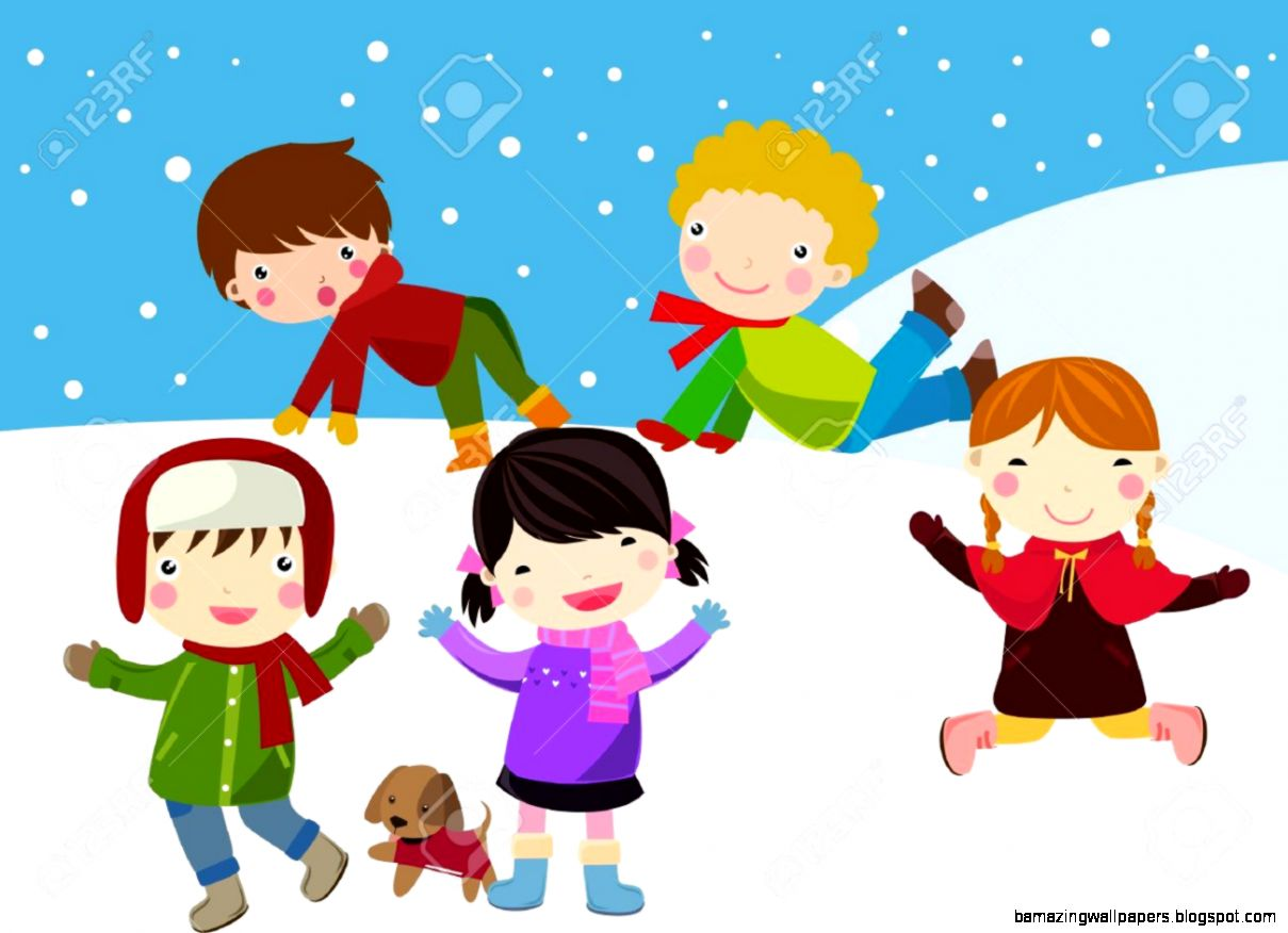 Children Having Fun In Snow Royalty Free Cliparts Vectors And