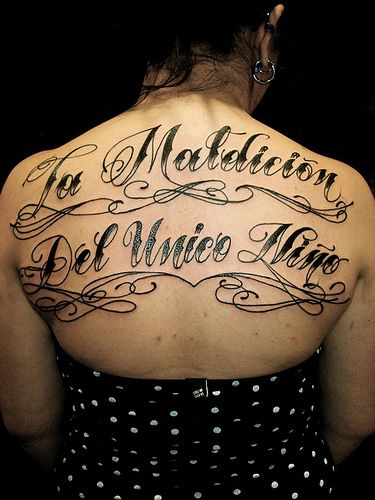 Back body tattoo font
