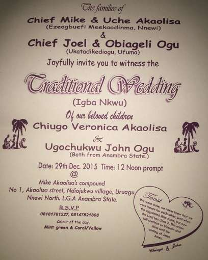 You are invited john ogus traditional wedding set to hold next john ogu posted the wedding invitation card on his ig page earlier stopboris Image collections