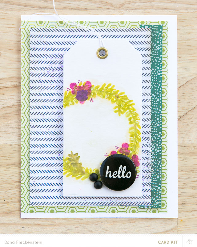 Fall Wreath Hello | Handmade card with flair button and stamped wreath by @pixnglue