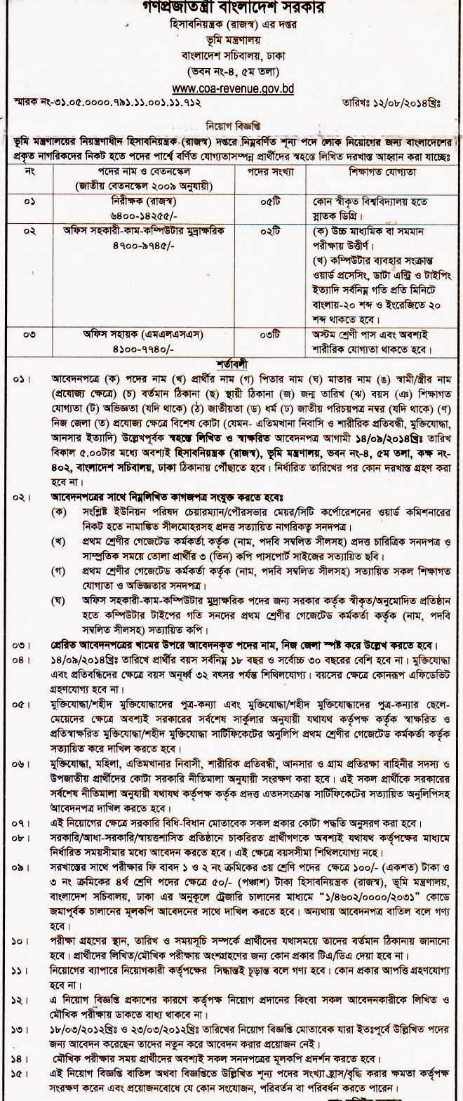 Bangladesh  Controller of Accounts (Revenue) Vacancy 2014
