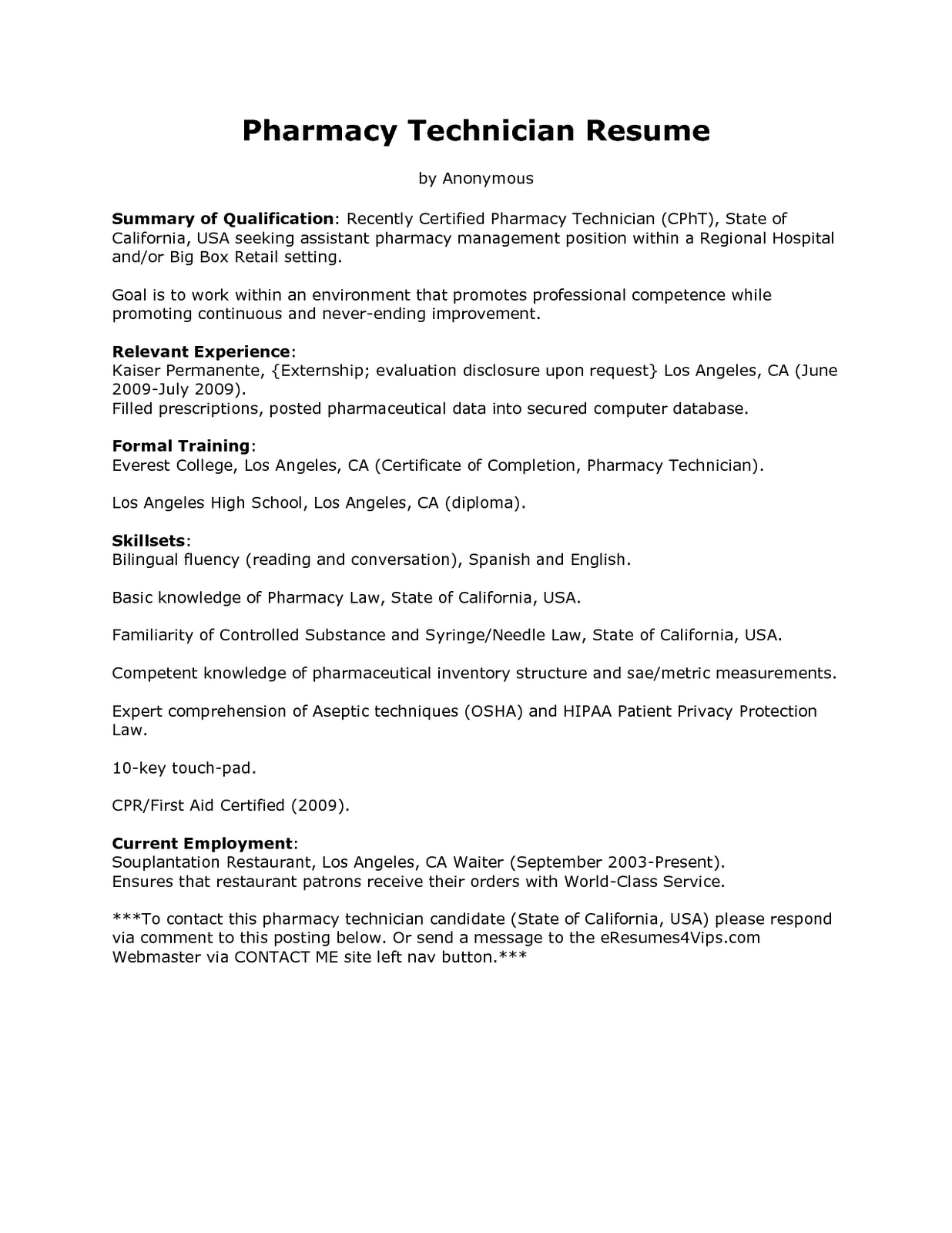 Resume Samples Pharmacy Clerk Resume
