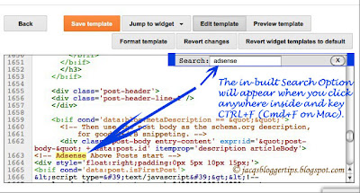 Screenshot to show the in-built Search Option feature of the new Template HTML Editor