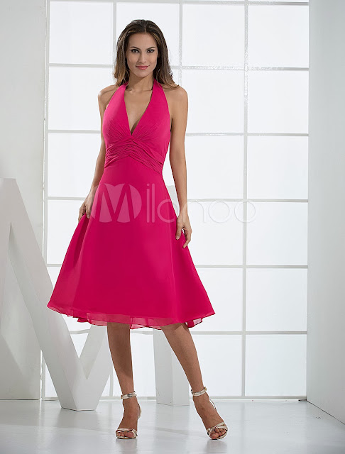 China Wholesale Clothes - Hot Fuchsia Deep V-neck Empire Waist Tea Length Chiffon Summer Prom Dress