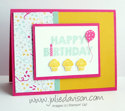 Stampin' Up! Party Wishes Birthday Card #stampinup 2016 Occasions Catalog www.juliedavison.com