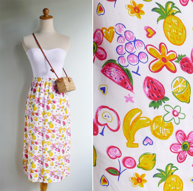 vintage fruit novelty print skirt