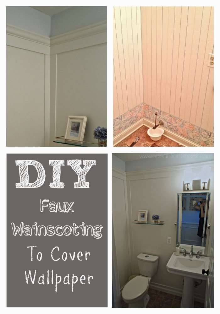 Guest Bathroom Wainscoting over Wallpaper | Ocean Front S on patio wallpaper, ceiling wallpaper, bookshelves wallpaper, pantry wallpaper, stucco wallpaper, room wallpaper, hardwood wallpaper, wallpaper wallpaper, paintable wallpaper, furniture wallpaper, how do i install wallpaper, mirrors wallpaper, painting wallpaper, beadboard wallpaper, lumber wallpaper, doors wallpaper, hardware wallpaper, plaster wallpaper, closet wallpaper, paint wallpaper,