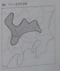 ウドン正月の分布