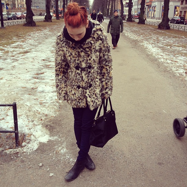 faux fur in leopard, ponyskin tote, jodphurs, ginger top knot