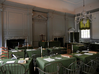 Inside the Independence Hall in Independence Mall in Philadelphia