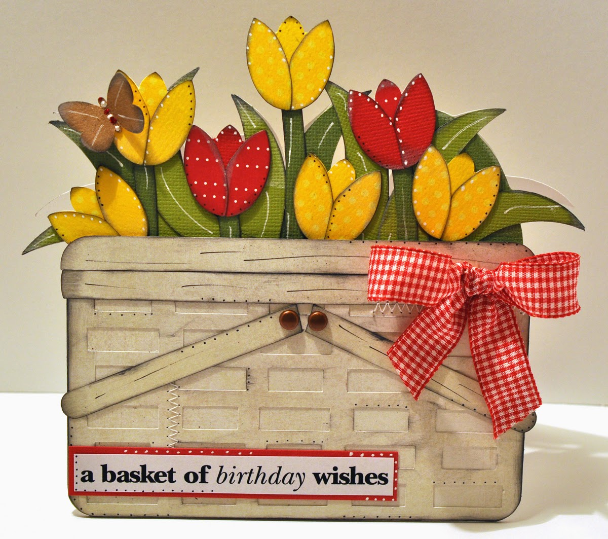 How To Make A Flower Basket Pop Up Card : Hand to paper walking through the tulips