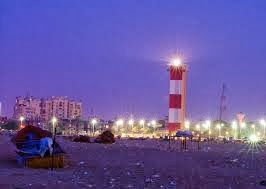 Chennai Marina Light House At Night