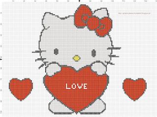 Hello Kitty love free pattern cross stitch