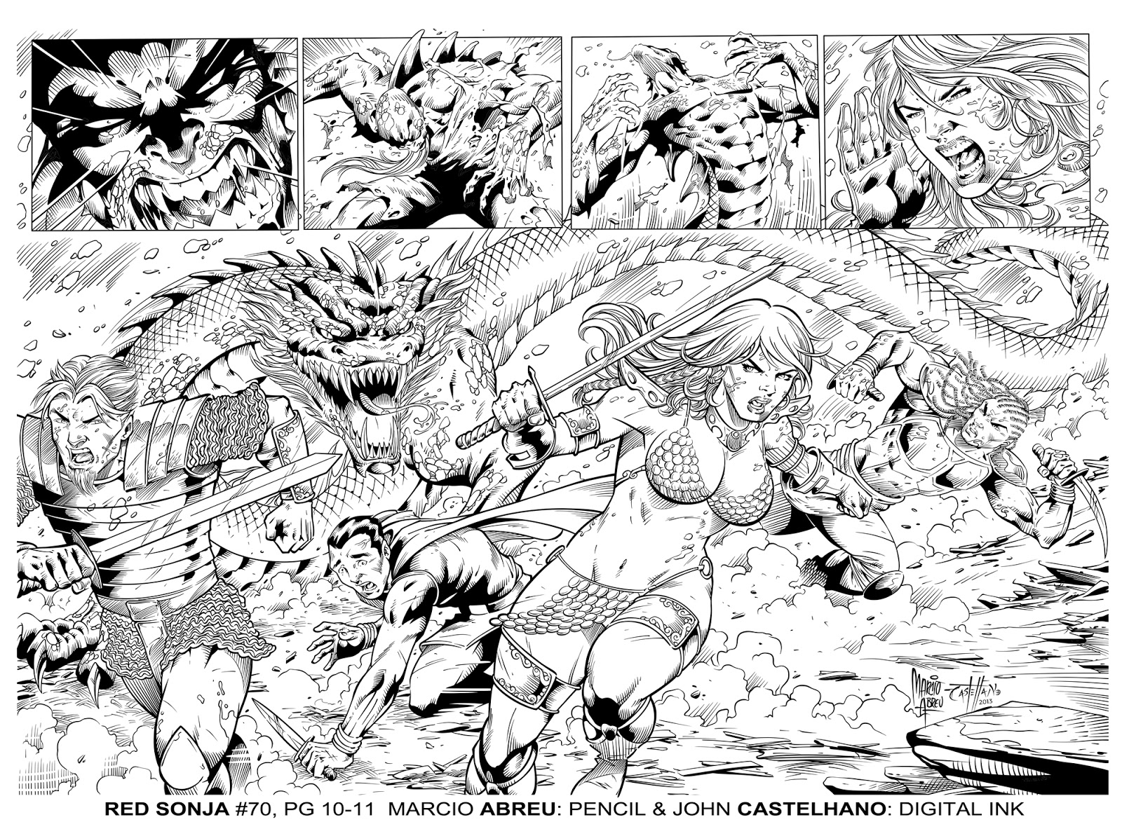 Red Sonja 70 Pg 10 - 11 by  Pencil: Marcio Abreu -  Digital Ink: Mine (John Castelhano)
