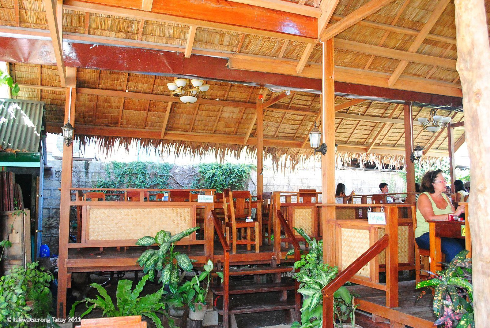 Dining area on their modern nipa type huts