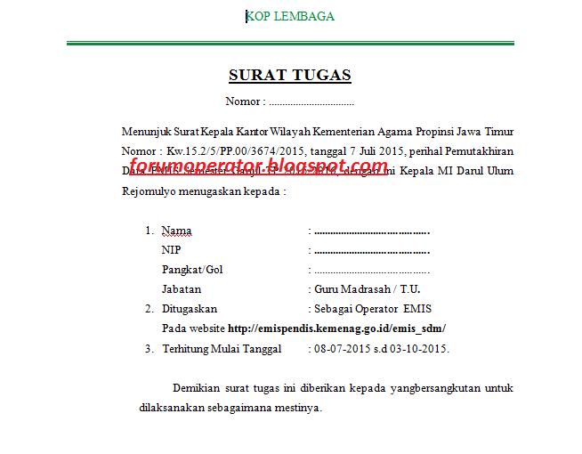 Download Contoh Surat Tugas Operator Emis Tahun 20152016