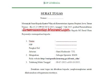 Download Contoh Surat Tugas Operator Emis Tahun 2015/2016