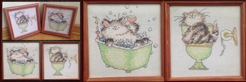 Вышивка котик в ванной