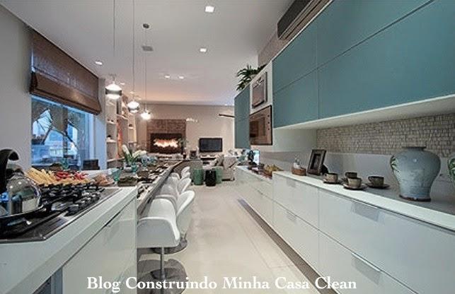 Construindo Minha Casa Clean Cozinhas Decoradas Com Azul