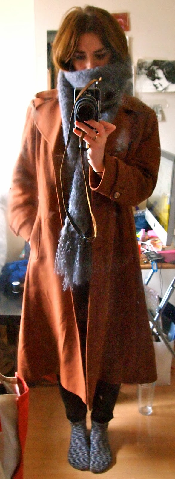 full length coat - camel