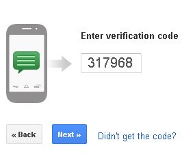 Sms verification of google two step security