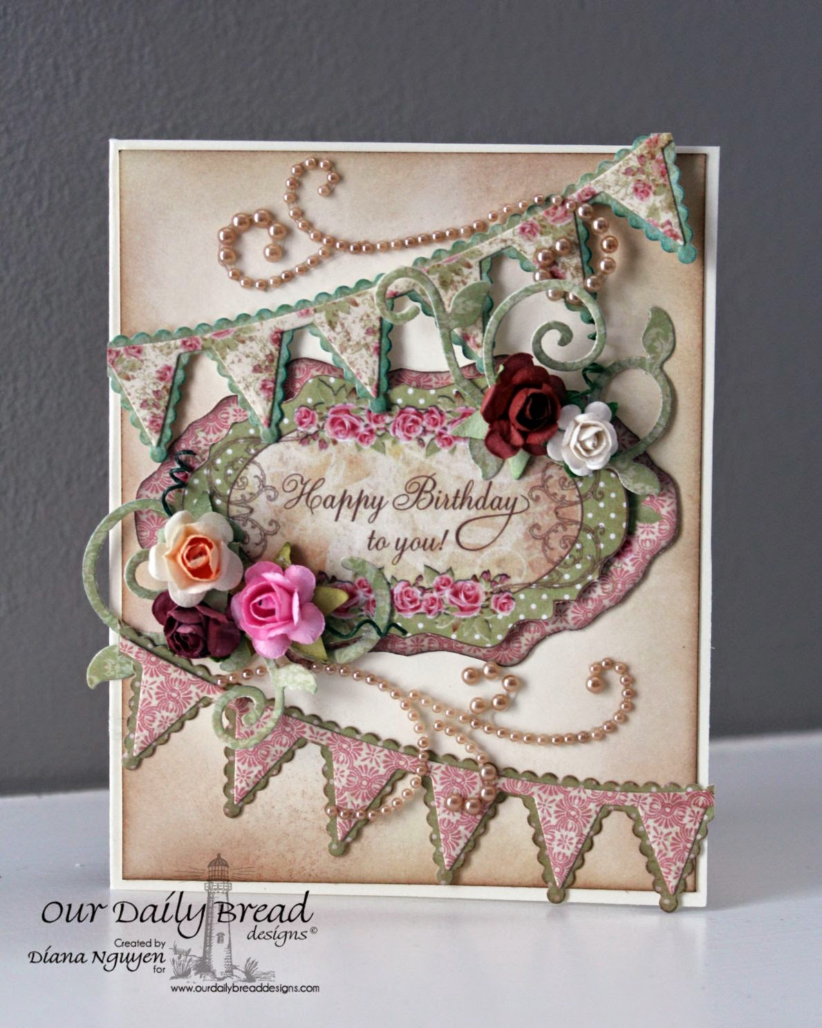 Our Daily bread designs, pennant row, birthday card, blushing rose paper
