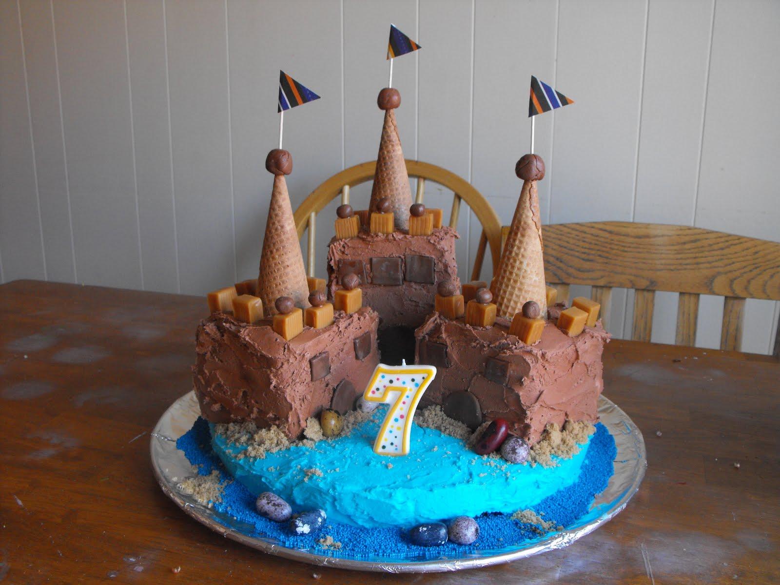 One Orange Giraffe Sand Castle Birthday Cake