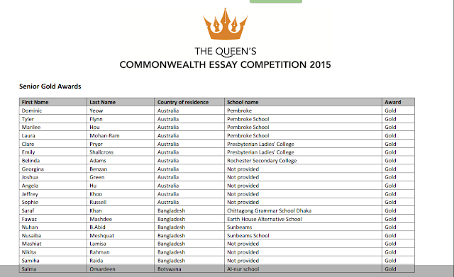 commonwealth essay competition 2009 results
