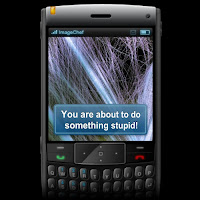 cell phone with message: you are about to do something stupid alert