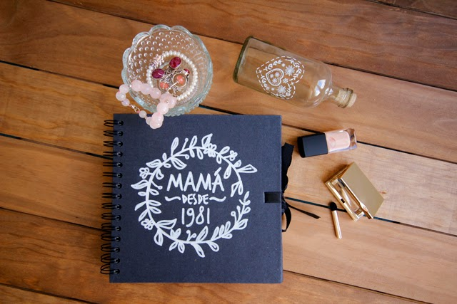 regalo día de la madre scrapbooking notebook blackboard design hermanas bolena