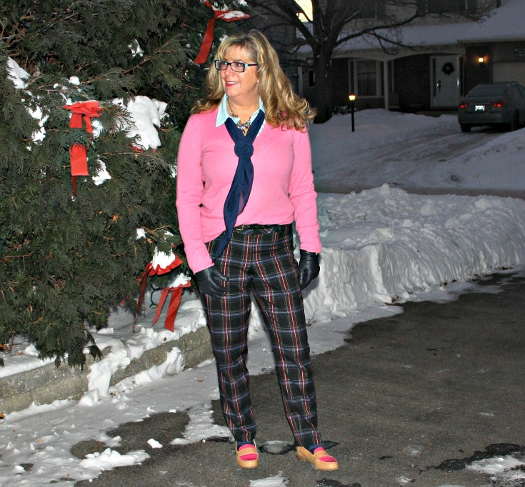 Target plaid pants with a pink cashmere sweater  and tommy loafers 3