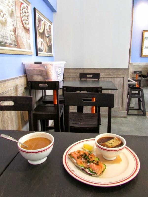 La Boulange de Sunset- French Onion Soup, Smoked Salmon Sandwich, & a Bowl of Cinnamon Coffee