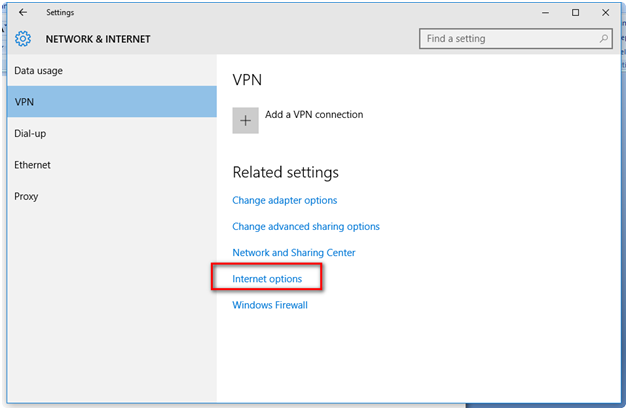 Network And Internet Options In Windows 10