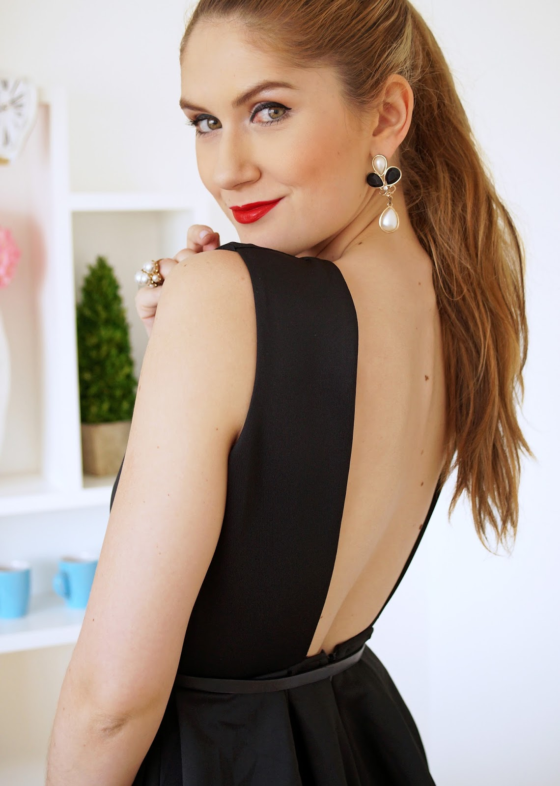 Sexy Open Back Black Dress