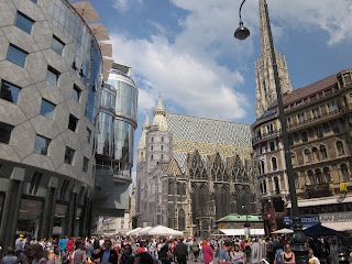 Note the contrast of old and new in the Central district of Vienna - St. Stephens Cathedral and Modern Building