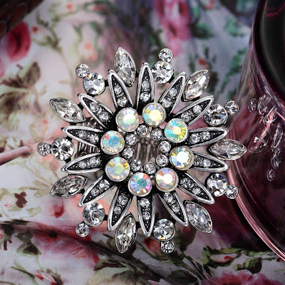 white crystal flower rings sunflower