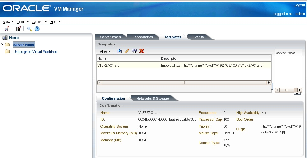 Welcome to the database wizard!: Uploading templates for OVM 3.0.3 ...