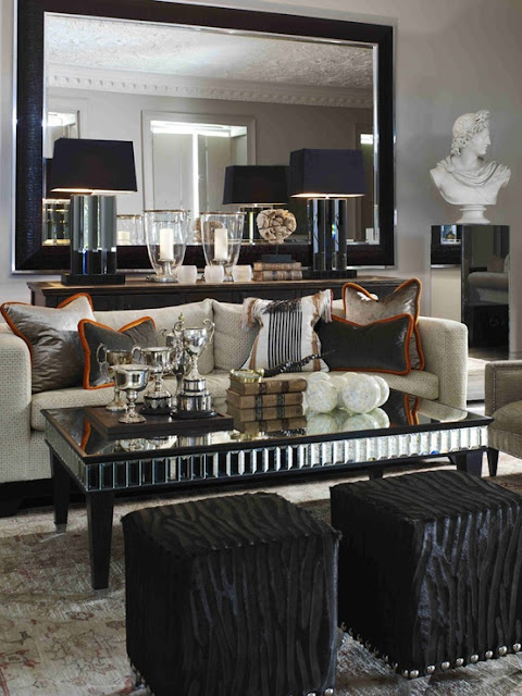 glam black and mirrored living room old hollywood style