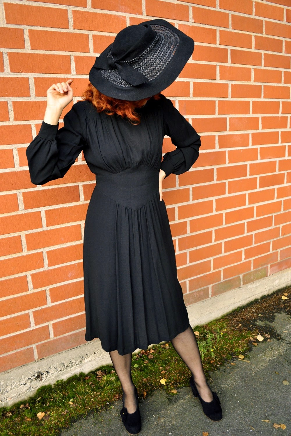 1940s black rayon dress at VintageFollies