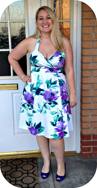 purple flower halter dress