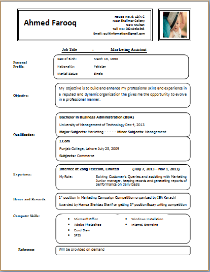 Example of proper resume