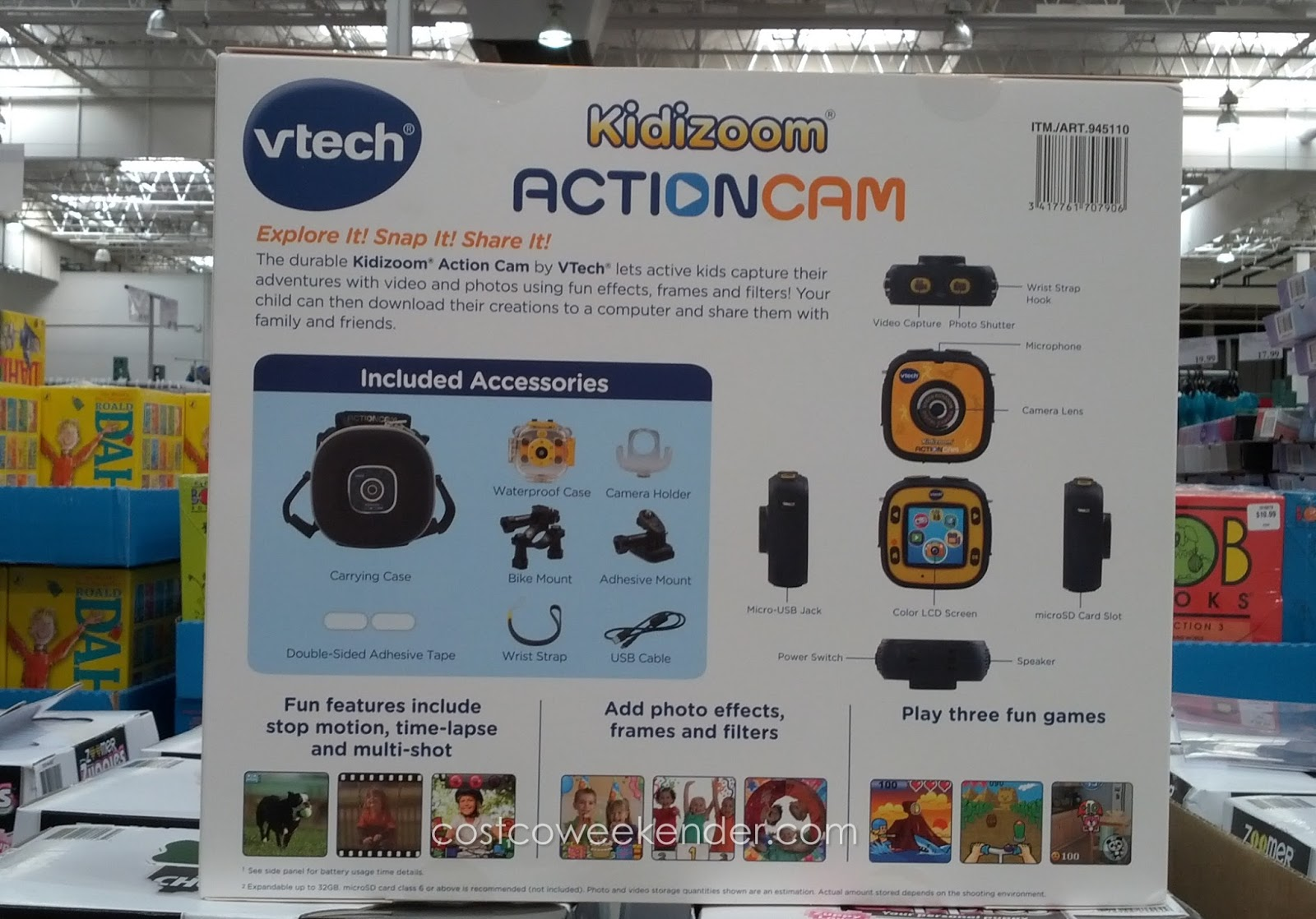 VTech Kidizoom Action Cam – Waterproof case and a bunch of mounting accessories