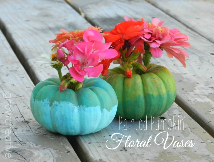 Ombre painted pumpkin floral vases: Grow Creative